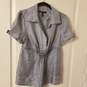 BCBG Maxazria 100% Silk Blue & White Striped Shirt